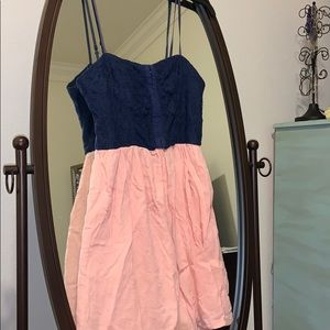 Navy and peach dress